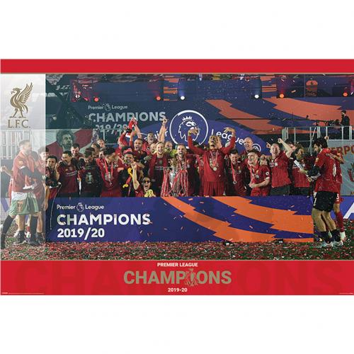 Liverpool Premier League Champions Poster Trophy Lift 15